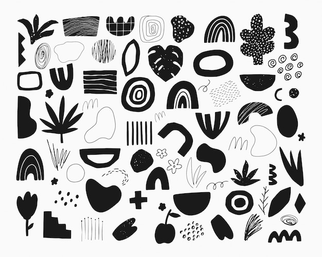 Set of hand drawn abstract doodle elements. Premium Vector
