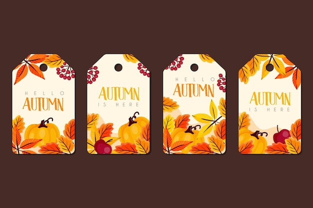 Set of hand drawn autumn badges Free Vector