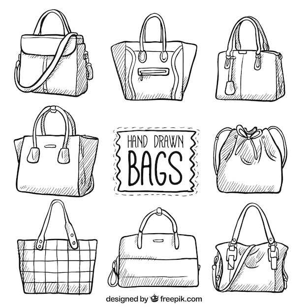 Set of hand-drawn bags Premium Vector