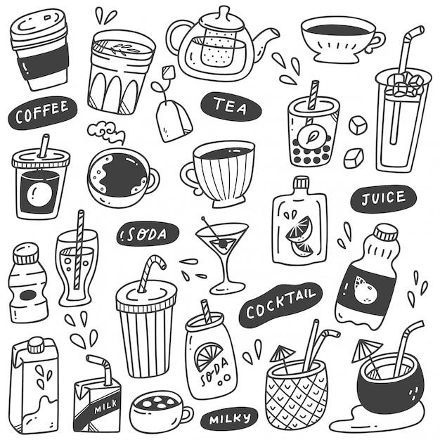 Set of hand drawn beverages doodle Premium Vector