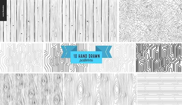 Set, hand drawn black, white geometric patterns Premium Vector