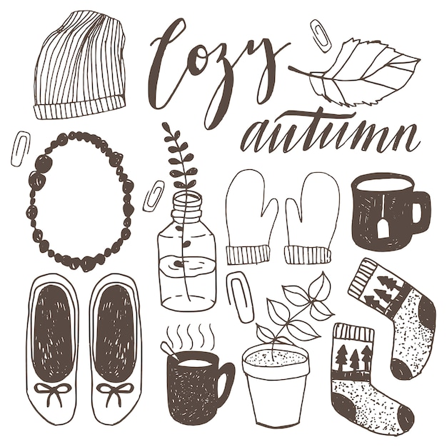 Set of hand drawn casual urban autumn doodle illustrations. hipster fall vector doodles. Premium Vector