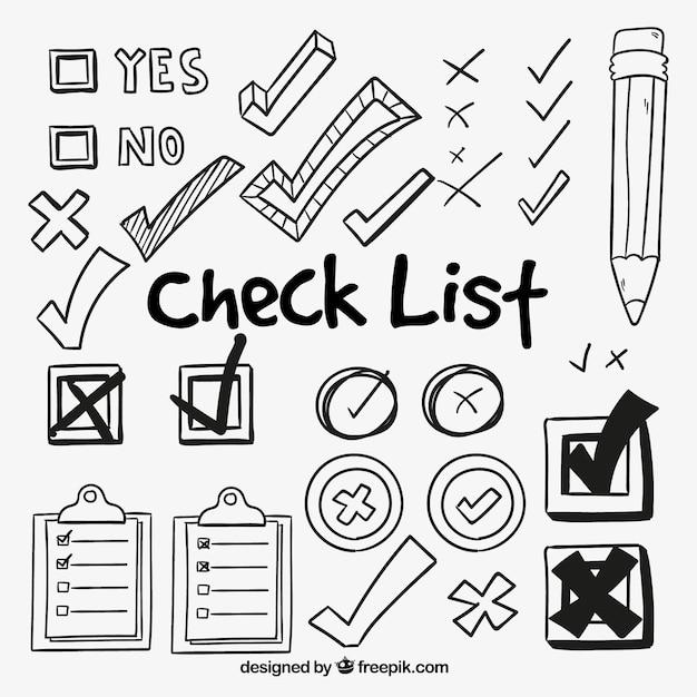 Set of hand-drawn check symbols Free Vector