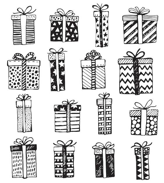 Set of hand drawn christmas or birthday ornate present boxes Premium Vector