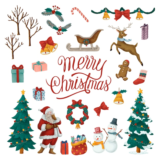 Christmas Illustrations.Set Of Hand Drawn Christmas Illustrations Vector Free Download