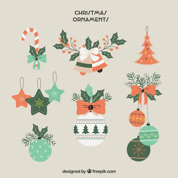 Set of hand drawn christmas ornaments Free Vector