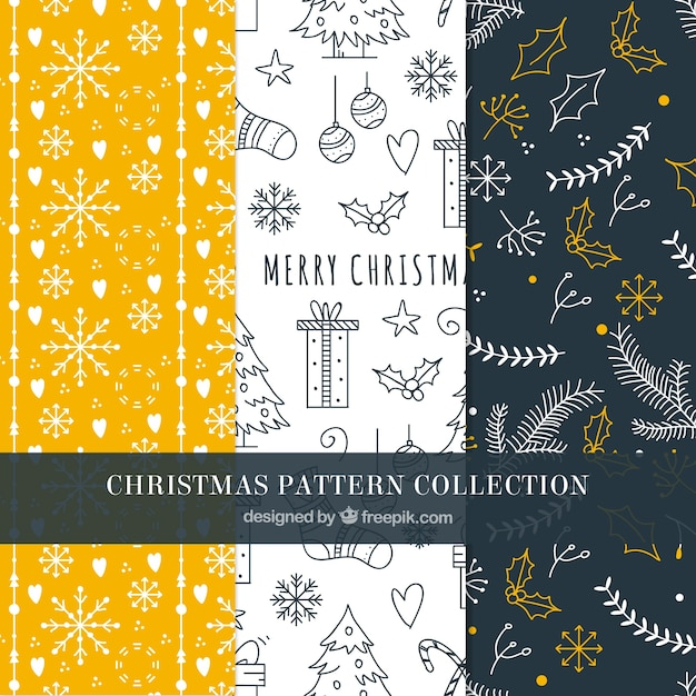 Set of hand drawn christmas patterns Free Vector