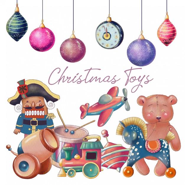 Set of hand drawn christmas toys Premium Vector