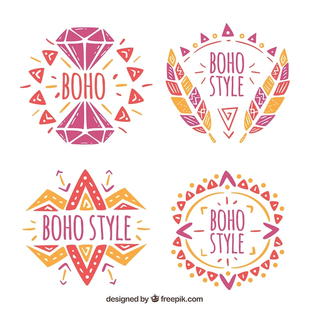 Set of hand drawn colored boho Free Vector