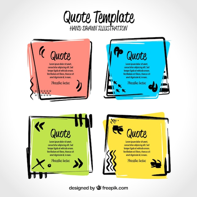 Set Of Hand Drawn Colorful Frames For Quotes Vector
