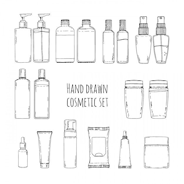Set of hand drawn of cosmetics for skin care. doodles of cosmetic bottles and cosmetic package. set of cosmetic bottles for shampoo, creams, tonic. Premium Vector