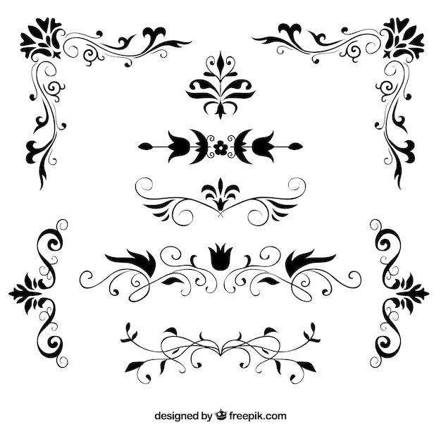 Set of hand drawn decorative floral borders Free Vector