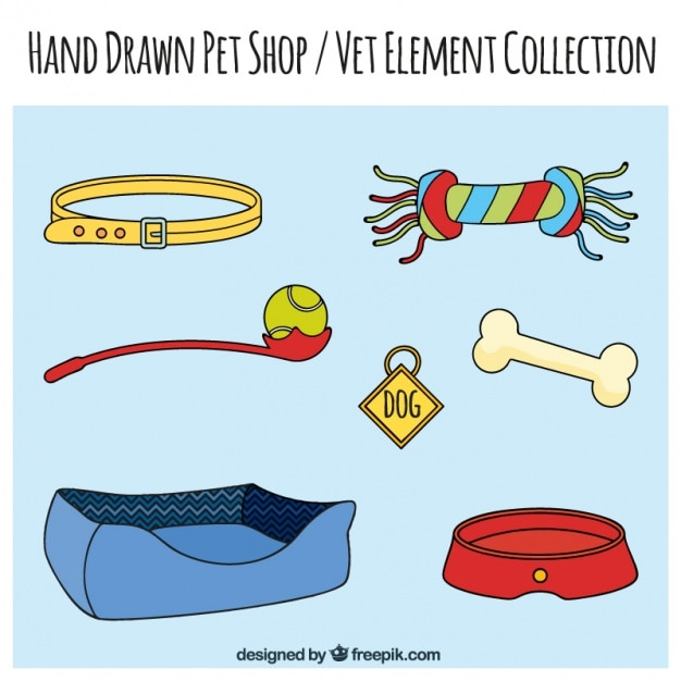 Set of hand drawn elements pet store Free Vector