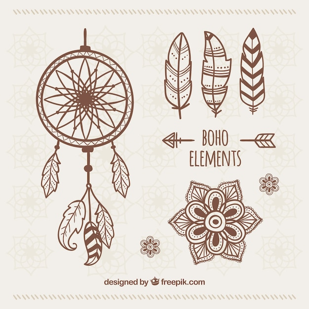 Set of hand drawn ethnic ornaments Free Vector