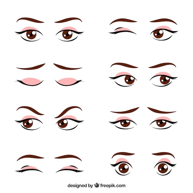 Set of hand drawn female looks Free Vector