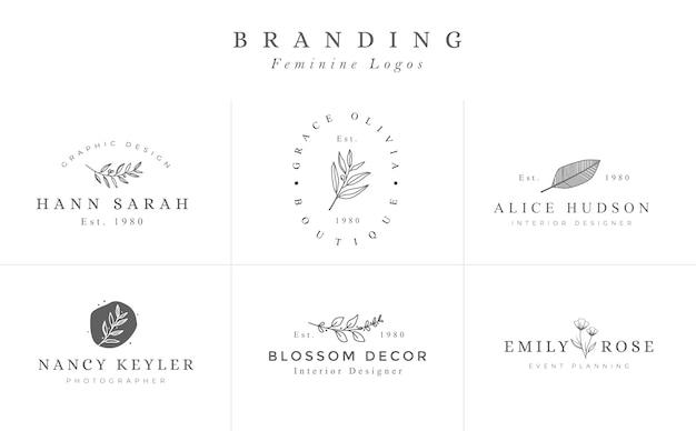 Set of hand drawn feminine vector signs or logo Premium Vector