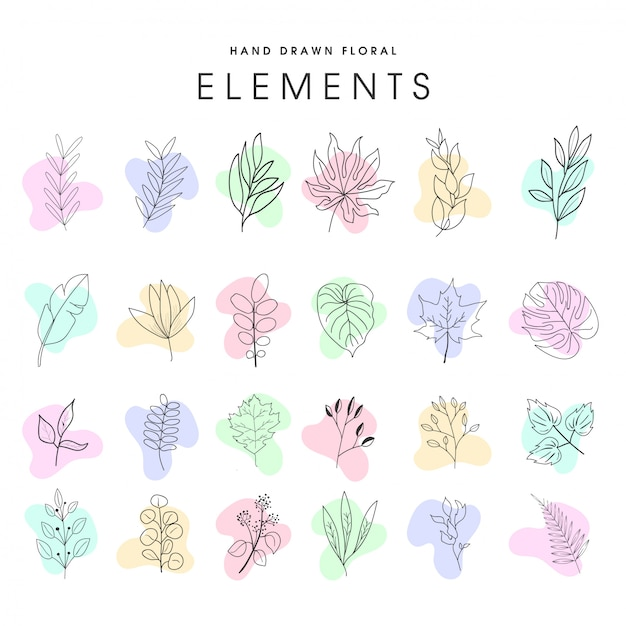 Set of hand drawn floral elements vector Premium Vector