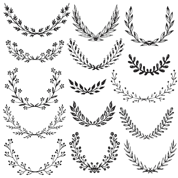 Set of hand drawn floral wreaths with branches, leaves, flowers, berries. Premium Vector
