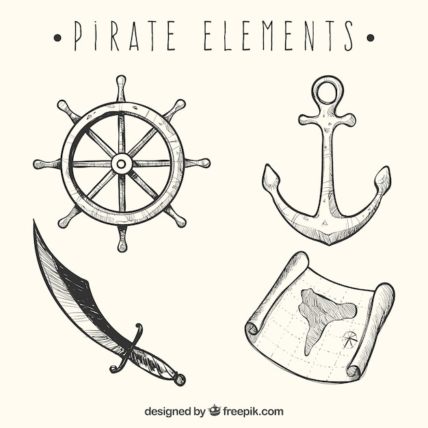 Set of hand drawn four pirate elements Free Vector