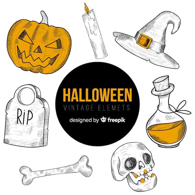 Set of hand-drawn halloween elements Free Vector