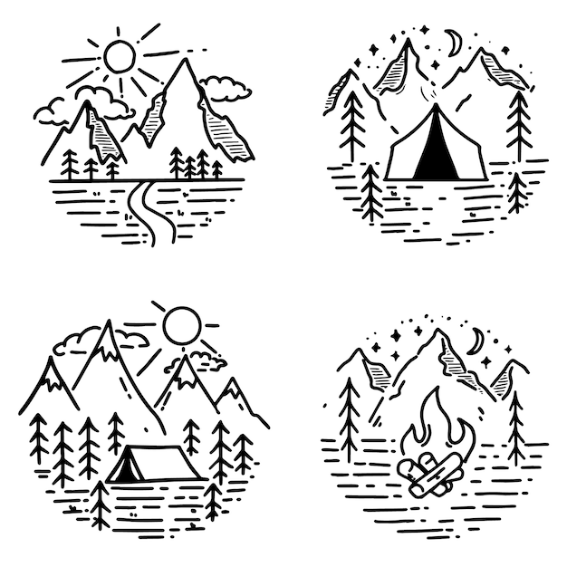 Set of hand drawn hiking and tourism emblems.  element for logo, poster, card, emblem, print.  image Premium Vector