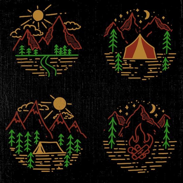 Set of hand drawn hiking and tourism emblems.  element for logo, poster, card, emblem, print.  image Premium Vector