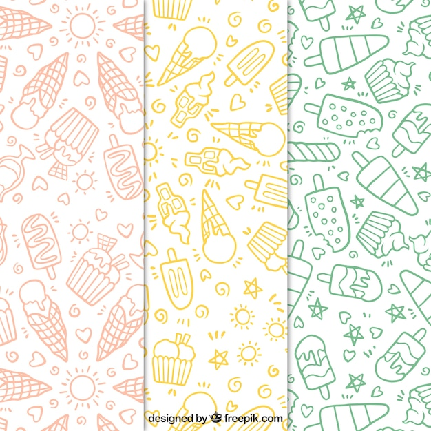 Set of hand-drawn ice cream patterns Free Vector