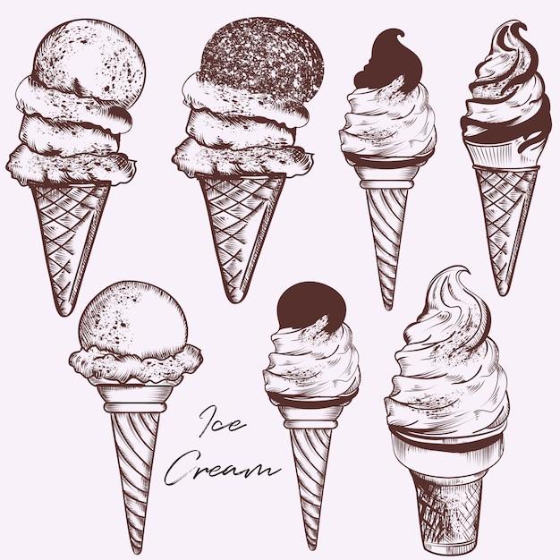 Set di gelato disegnato a mano Vettore gratuito
