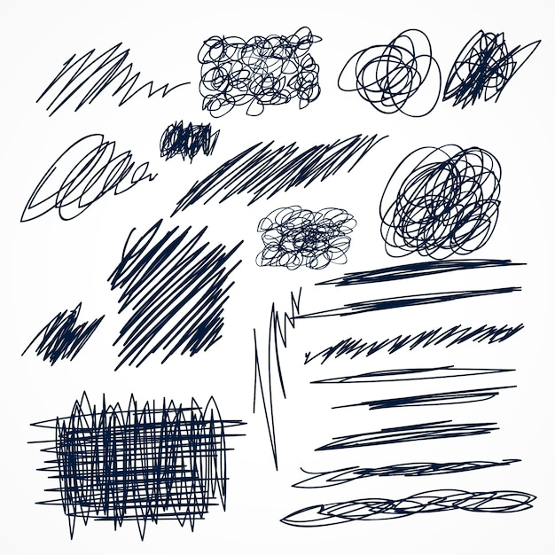 Set of hand drawn ink pen scribbles Free Vector