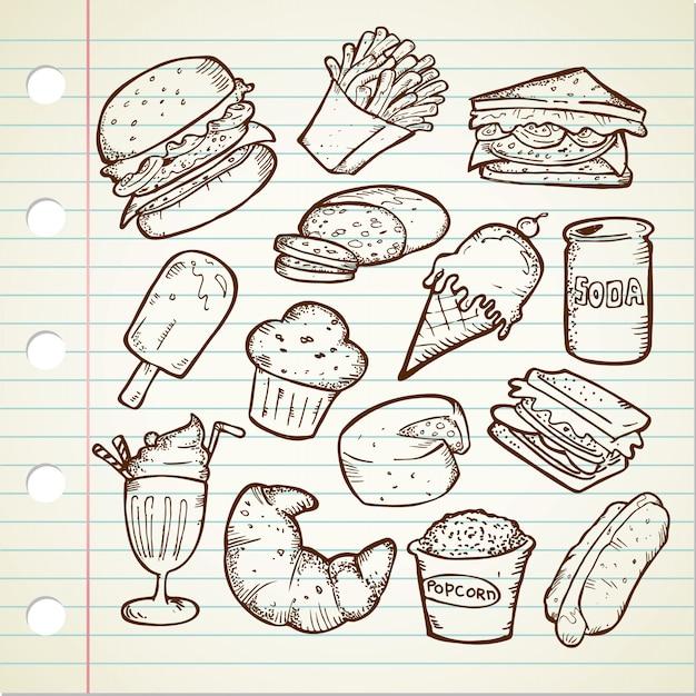 Set of hand drawn junk food doodles Premium Vector