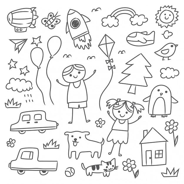 Set of hand drawn kid doodles Premium Vector