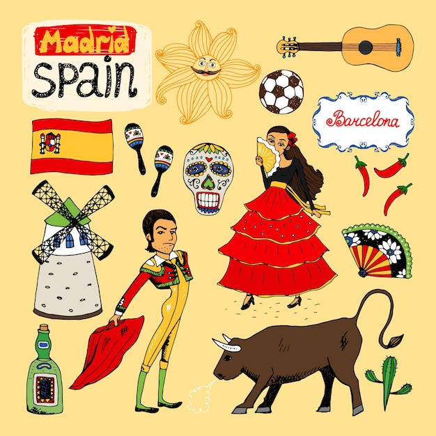 Set of hand-drawn landmarks and symbols of spain Free Vector