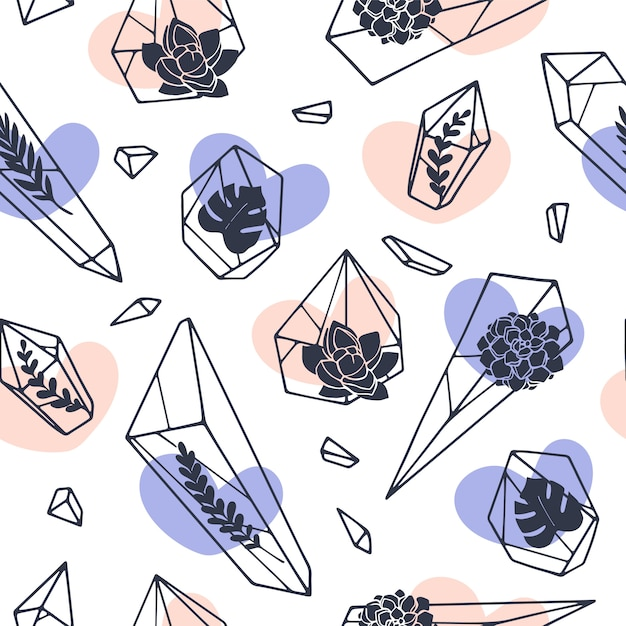 Set of hand drawn line art minerals Premium Vector
