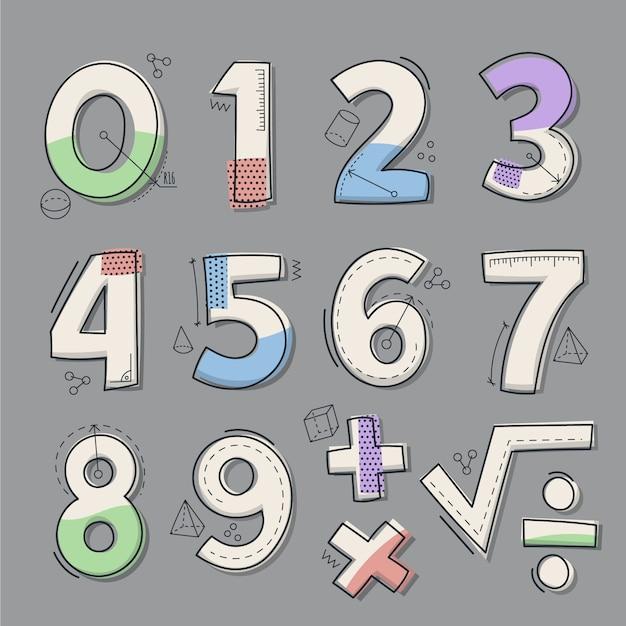 Set di simboli matematici disegnati a mano Vettore gratuito