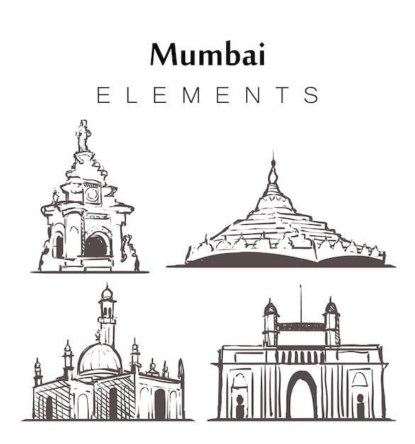 Set of hand-drawn mumbai buildings Premium Vector