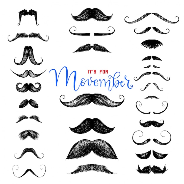 Set of hand drawn mustaches Premium Vector