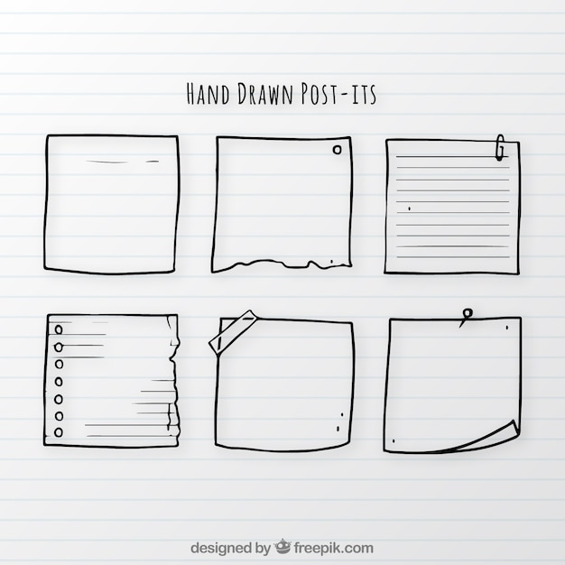 Set of hand drawn notes Free Vector