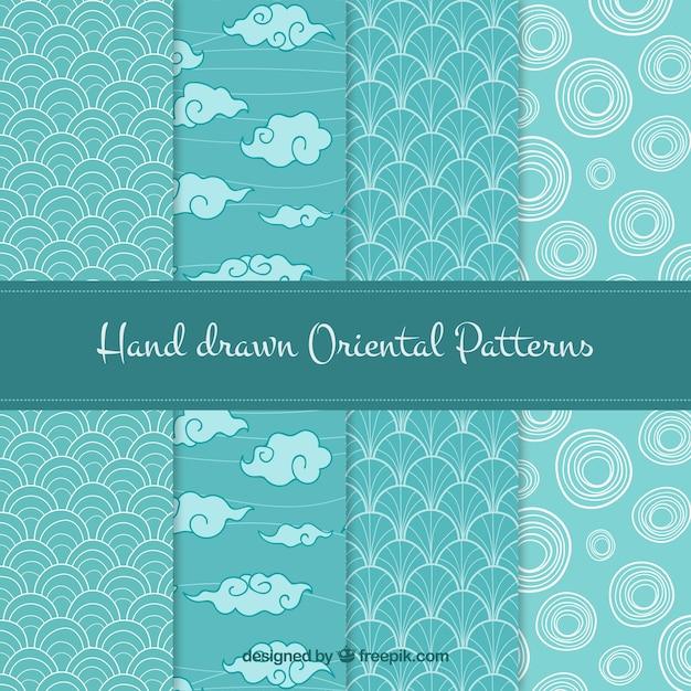 Set of hand drawn oriental patterns Free Vector