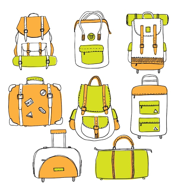 Set of hand drawn outline vector suitcases Premium Vector