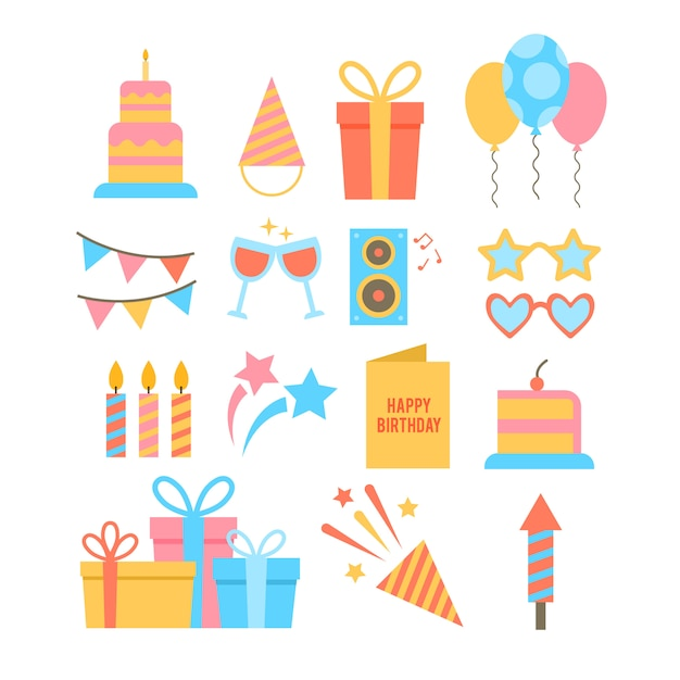Set of hand drawn party themed icons. Free Vector