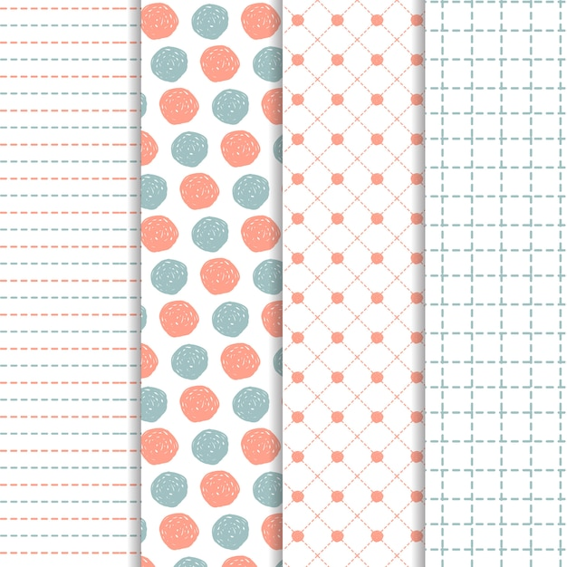Set of hand drawn patterns in blue and coral Free Vector
