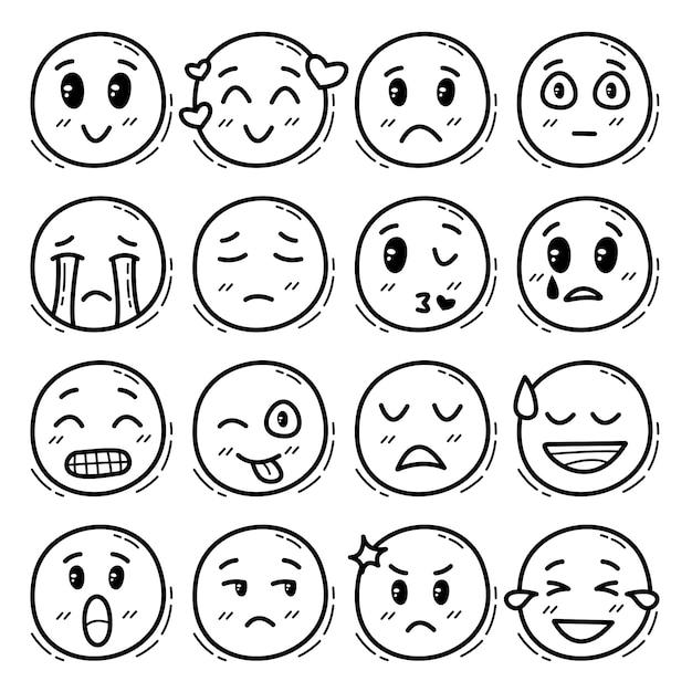 Set of hand drawn people emojis Premium Vector