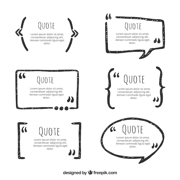 Set of hand drawn quotations frames Free Vector
