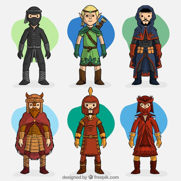 Set of hand drawn role-playing game characters Free Vector