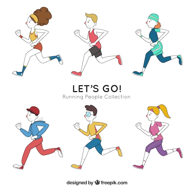 Set of hand drawn runners Free Vector