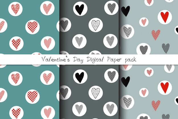 Set of hand drawn seamless patterns with doodle hearts Premium Vector