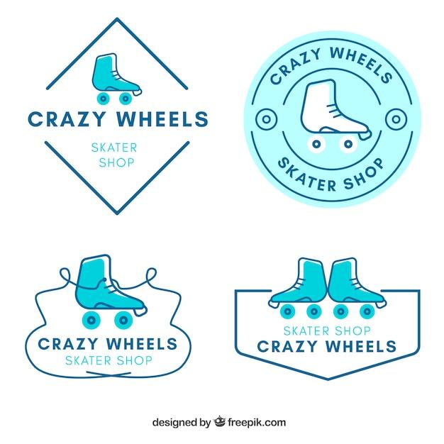 Set of hand drawn skateboard badges Free Vector