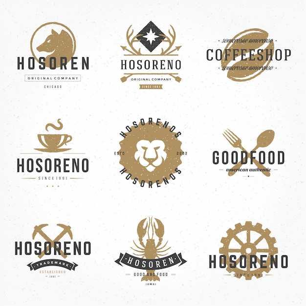 Set hand drawn style retro logos or badges vintage typographic elements Premium Vector