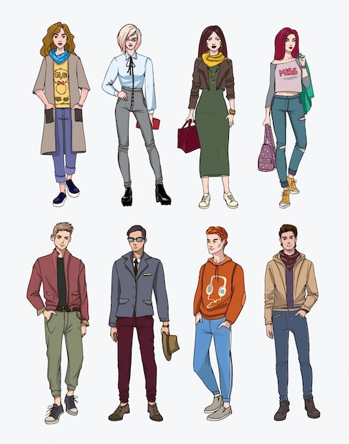 Set of hand drawn stylish young people at street. collection fashion, trendy youth. colorful illustration. Premium Vector