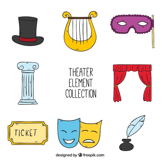Set of hand drawn theater objects Free Vector